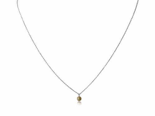 Mini Disco Ball Yellow Diamond White Gold Necklace