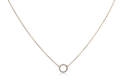 Circle Diamond Rose Gold Necklace Mini