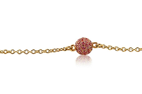 Mini Disco Ball Pink Sapphire Rose Gold Bracelet