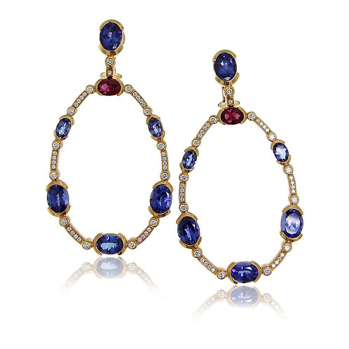 Chandelier Tanzanite and Pink Tourmaline Rose Gold Earrings