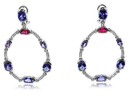Chandelier Tanzanite and Pink Tourmaline Earrings