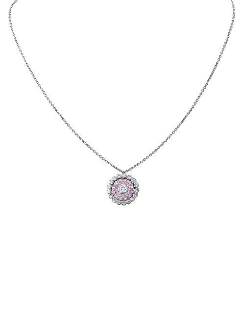 Evil Eye Light Pink Sapphire Diamond White Gold Necklace