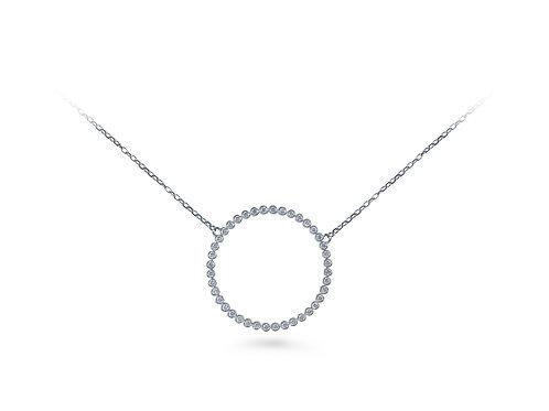 White Diamond XL Circle Necklace