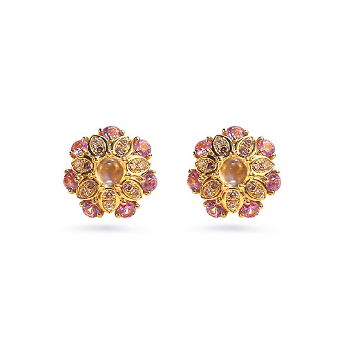 Kalinda Brown Diamond, Pink Sapphire, Blue Moonstone Ear Studs