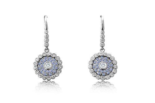 Evil Eye Light Blue Sapphire Diamond White Gold Earrings