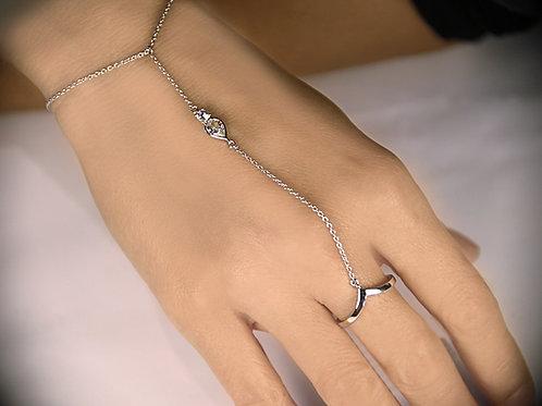 Sundar White Sapphire Sterling Silver Bracelet-Ring