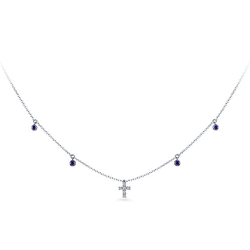 White Gold  Baby Cross  Necklace