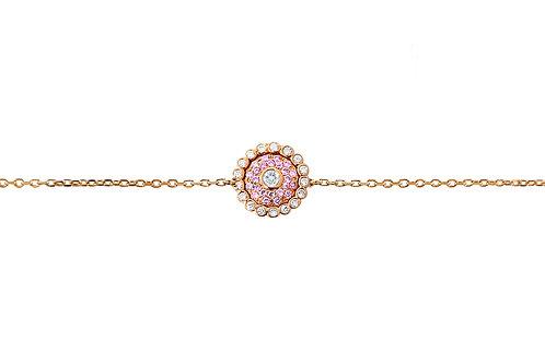 Evil Eye Light Pink Sapphire Diamond Rose Gold Bracelet