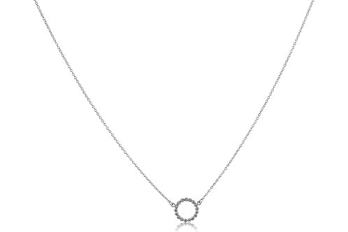 Circle Diamonds White Gold Necklace Mini