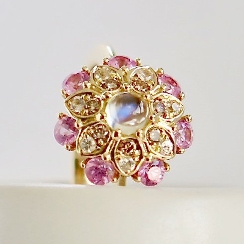 Kalinda Brown Diamond, Pink Sapphire and Blue Moonstone Ring