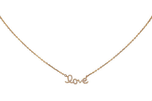 Baby Love Rose Gold white diamond necklace