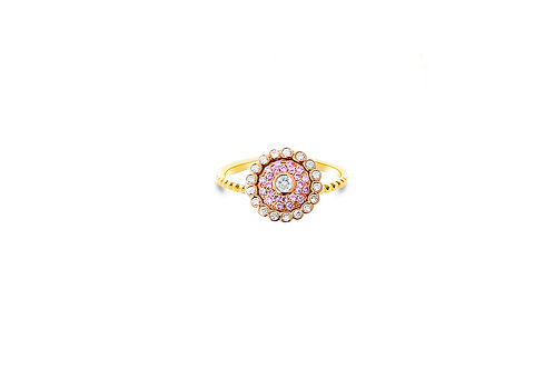 Evil Eye Light Pink Sapphire Diamond Rose Gold Ring