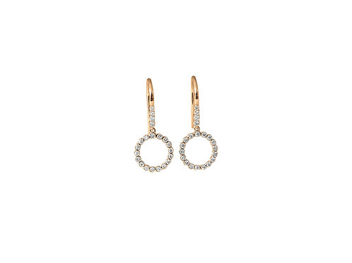 Circle Diamond Rose Gold Earrings