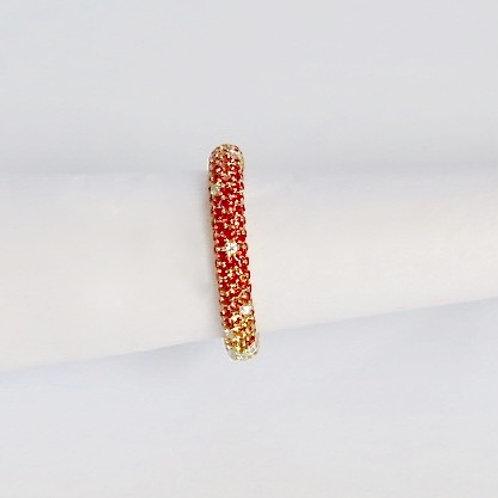 Celestia White Diamond, Orange and Yellow Sapphire Ring