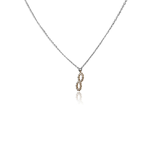 Lucky 8 White Diamonds White and Rose Gold Necklace