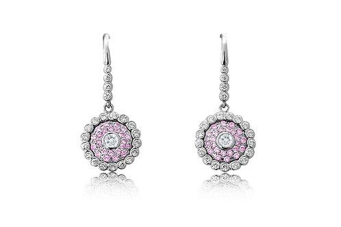 Evil Eye Light Pink Sapphire Diamond White Gold Earrings