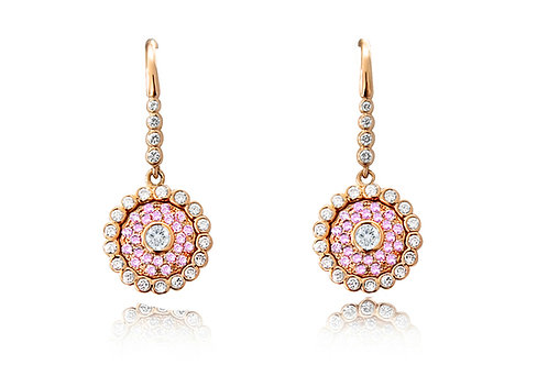 Evil Eye Light Pink Sapphire Diamond Rose Gold Earrings