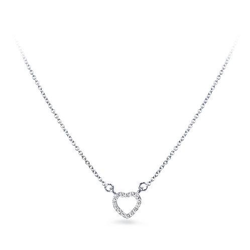 Mini Diamond Heart White Gold Necklace