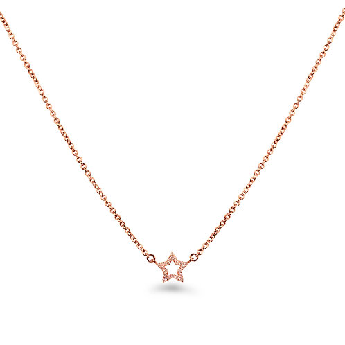 Baby Star Rose Gold Diamond Necklace