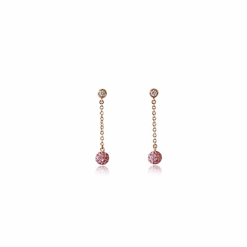 Mini Disco Ball Pink Sapphire Rose Gold Earrings