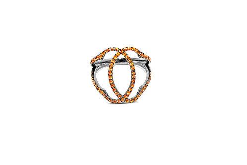 Marrakesh Orange Sapphire Silver Ring
