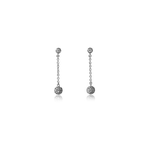 Mini Disco Ball White Diamond White Gold Earrings