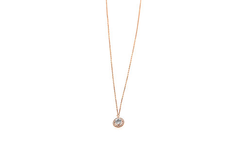 Halo Diamonds White Sapphire Rose Gold Necklace