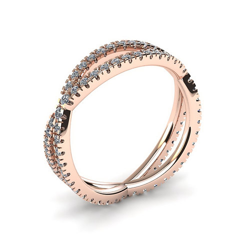 Entwined White Diamond Rose Gold Ring