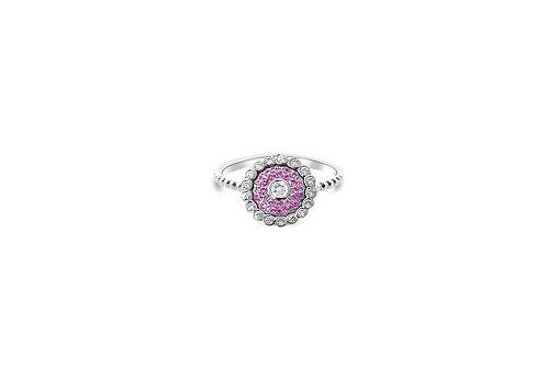Evil Eye Intense Pink Sapphire White Diamond White Gold Ring