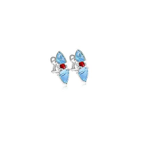 Aquamarine Pink Tourmaline Diamond Earrings