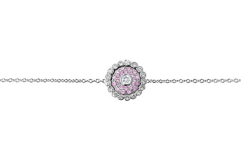 Evil Eye Light Pink Sapphire Diamond White Gold Bracelet