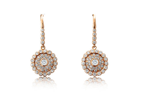 Evil Eye Champagne and White Diamonds Rose Gold Earrings
