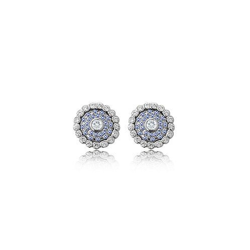 Evil Eye Light Blue White Gold Ear Studs