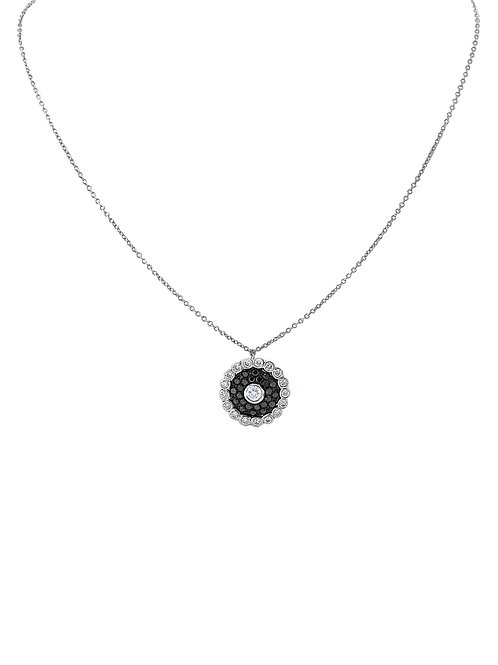 Evil Eye Black and White Diamond White Gold Necklace
