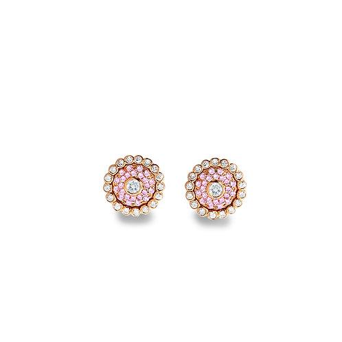 Evil Eye Light Pink Rose Gold Ear Studs