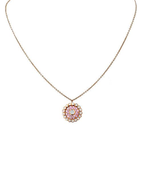 Evil Eye Light Pink Sapphire White Diamond Rose Gold Necklace