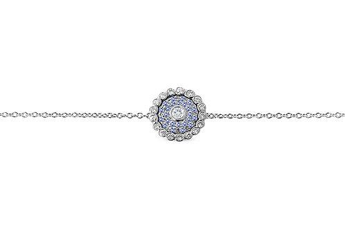Evil Eye Light Blue Sapphire Diamond White Gold Bracelet