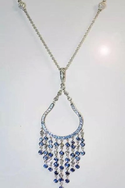 Summer Rain White diamond, Blue Sapphire Necklace