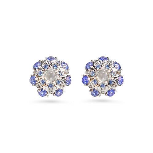 Kalinda Blue Sapphire Blue Moonstone Ear Studs
