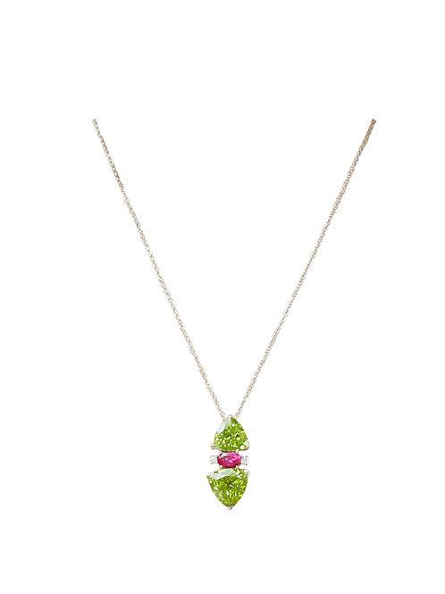 Peridot Pink Tourmaline White Diamond Pendant