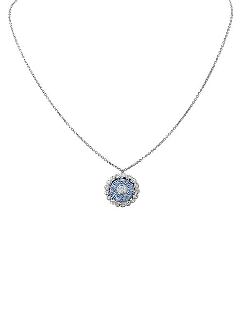 Evil Eye Intense Blue Sapphire Diamond White Gold Necklace
