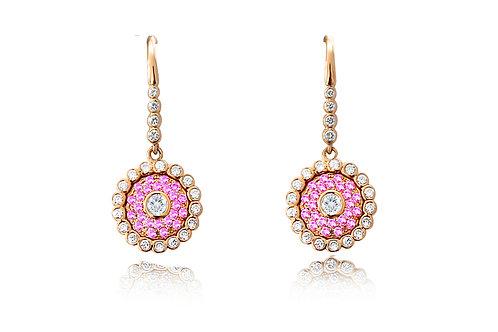 Evil Eye Rose Gold Intense Pink Earrings