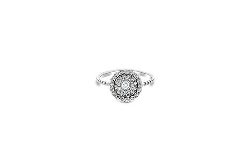 Evil Eye White Diamond White Gold Ring
