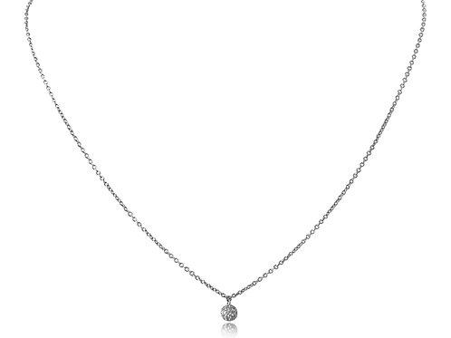 Mini Disco Ball Diamond White Gold Necklace
