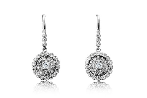Evil Eye White Diamond White Gold Earrings