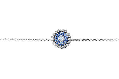 Evil Eye Dark Blue Sapphire Diamond White Gold Bracelet