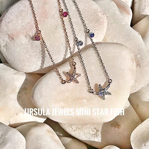 Mini Starfish Blue Sapphire White Diamond Necklace