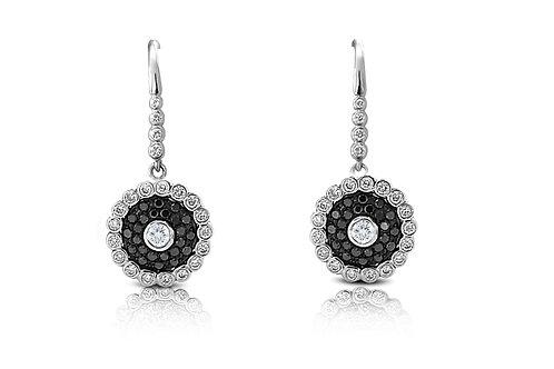 Evil Eye White and Black Diamond White Gold Earrings