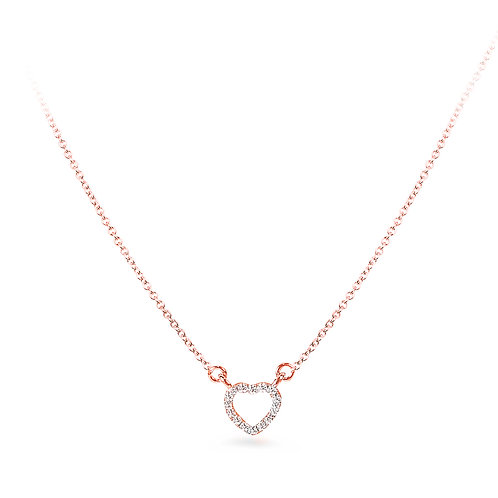 Mini Diamond Heart Rose Gold Necklace
