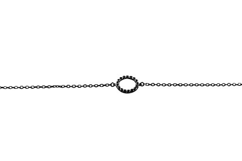 Circle Black Diamond Black Gold Bracelet